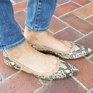 14th & Union Kiana Pointed Studded Croc Flats 9.5
